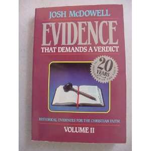 Evidence That Demands a Verdict Vol II 1993: Josh McDowell: Books