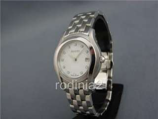 Ladies Gucci 5500L White Shell/Crystals Dial & SS Band