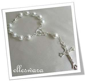 PARTY FAVOURS 10 x First Holy COMMUNION Pearl ROSARY Bracelet