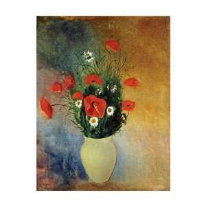 Poppies and Daisies by Odilon Redon . Art PRINT Poster 20.88 X 26.00