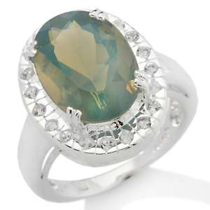 93ct Blue Ash Opal and White Topaz Sterling Silver Oval Ring