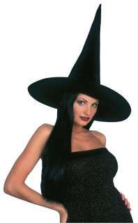 Adult Black Velvet Witch Hat with Hair   Witch Costume Accessories