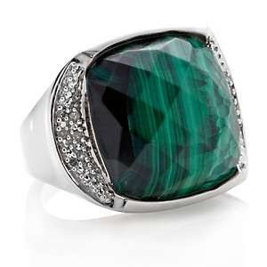Malachite Cushion Cut Ring with Diamond Accents at HSN