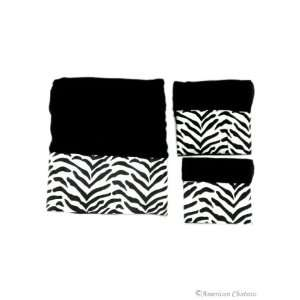 3PC Black and White Zebra Towel Set  Face/Hand/Bath