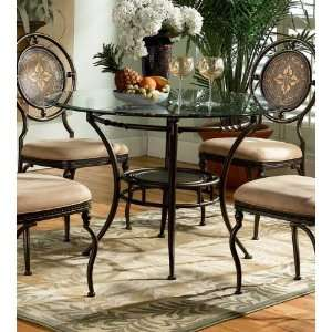 Powell Basil Antique Brown Glass Top Dining Table