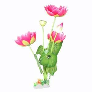 Como Aquarium Tank Decor Pink Green Nylon Lotus Flower 19