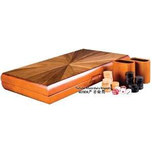 Backgammon Board Game Set in Solid Inlaid Wood Case 17