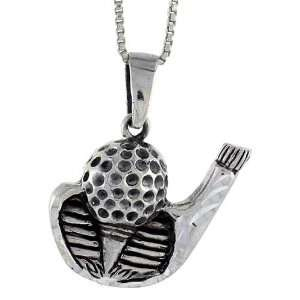 925 Sterling Silver Golf Club w/ Ball Pendant (w/ 18 Silver Chain), 1