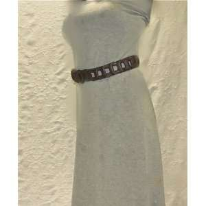 : Wet Seal Brown Leather Link Belt with Brass Buckle: Everything Else