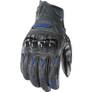 Mens Leather Sports Bike Motorcycle Gloves   Black/Blue / X Large