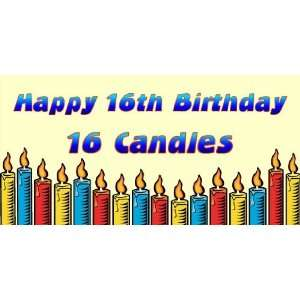 3x6 Vinyl Banner   Happy 16th Birthday 16 Candles