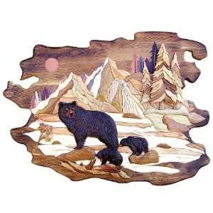 Black Bear Family in Mountains Wood Art