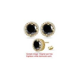 23 Cts Black & White Diamond Stud Earrings in 14K Yellow Gold Jewelry