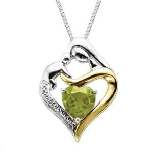 Silver and 14k Gold Peridot Heart Mom Pendant Necklace, 18 Jewelry