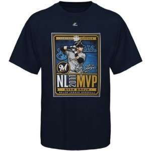 Majestic Ryan Braun Milwaukee Brewers 2011 NL MVP T Shirt   Navy Blue