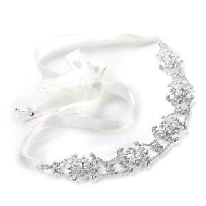 Swarovski Crystal Bridal Headband with Ribbon Jewelry