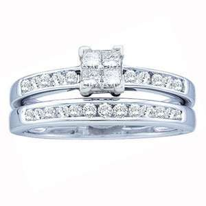Carat Princess Round Diamond 14k White Gold Bridal Set Ring Jewelry