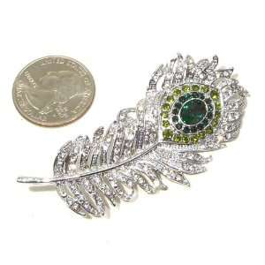 and Clear Austrian Rhinestone Peacock Feather Silver Plated Brooch Pin