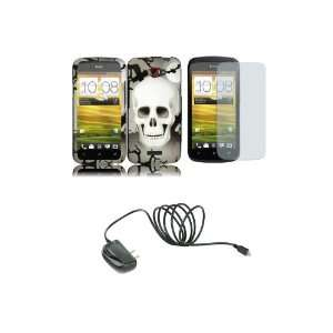 One S (T Mobile) Premium Combo Pack   Black Grey Skull Hard Case Cover