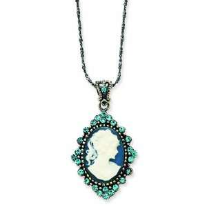Sterling Silver Blue Crystal Cameo Pendant W/ 16 Chain Jewelry