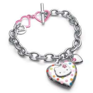 Hello Kitty Polka Dot Heart Locket Charm Bracelet Everything Else