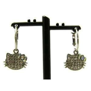 Hello Kitty Heads Charm Hoop Earrings with Crystals and AB