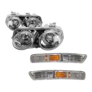 Chrome LED Halo Projector Headlights + Bumper Light Combo Automotive