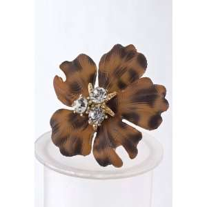 Brown Crystal Cluster Plastic Flower Ring  Sports
