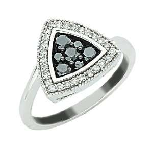 Invisible Set Cluster Black and White Diamond Cocktail Ring Jewelry