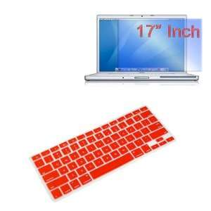 Premium Red Soft Silicone Keyboard Skin Cover + 17 inch Clear screen