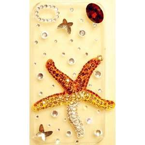 STARFISH Sea Star Clear Bling Crystal Case with brown stone