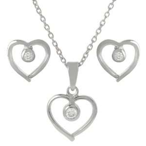 Sterling Silver Cubic Zirconia Heart Necklace and Earring Set Jewelry