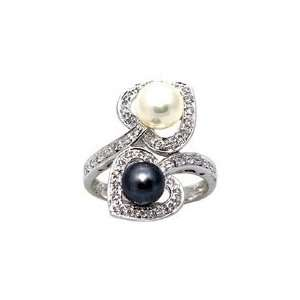 White Gold Diamond Ring With Black and White Cultured Pearls Size 6.5