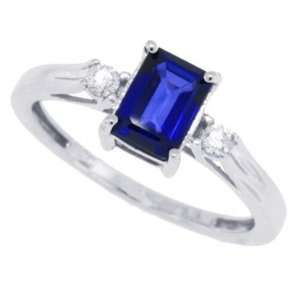 1.10CT Emerald Cut Genuine Sapphire Three Stone Ring with