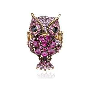 Tone Fuchsia Pink Cute Cocky Puffed Night Owl Fly Bird Rhinestone Ring