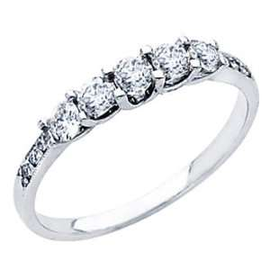 White Gold Round cut Diamond Ladies Women Cut Wedding Anniversary Ring
