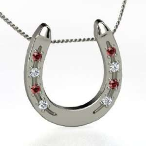 Pendant, Sterling Silver Necklace with Red Garnet & Diamond Jewelry