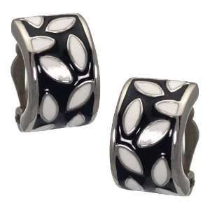 Valnia Silver Black White Clip On Earrings Jewelry