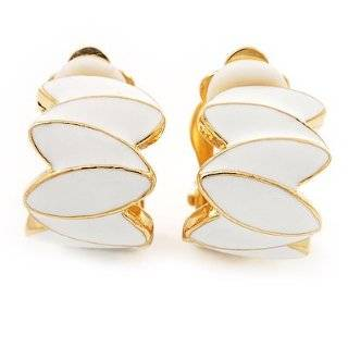 Holman White Enamel and Gold Plated Petal Clip On Earring Jewelry