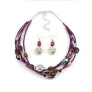 Fashion Jewelry Desinger Inspired Purple Beads Necklace and Earrings
