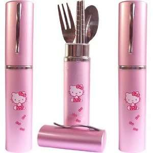 Sanrio Hello kitty pen shaped flatware set of fork spoon and chopstick