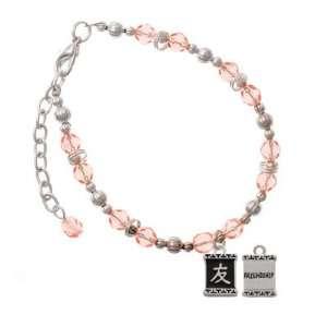 Character Symbols   Friendship Pink Czech Glass Beaded Charm Bracelet