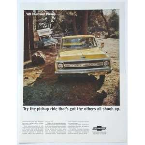1969 Yellow Chevy Pickup Truck Print Ad (1003)