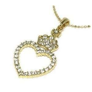 Heart Crown Necklace Clear Crystals Gold Tone