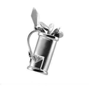 14KT White Gold Diamond Golf Pendant Jewelry
