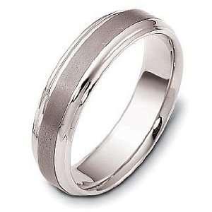 Titanium & 18 Karat White Gold Comfort Fit Wedding Band Ring   9.5
