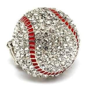 Sport Baseball Crystal Rhinestone Stretch Ring Clear Jewelry