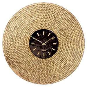 Art Glass with Gold Leaf Mosaic Wall Clock Golden Sun Home & Kitchen