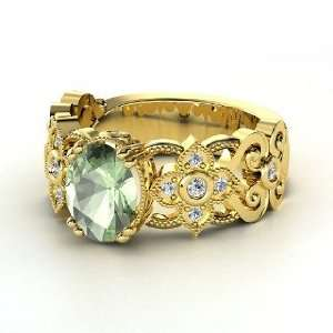 Mantilla Ring, Oval Green Amethyst 14K Yellow Gold Ring