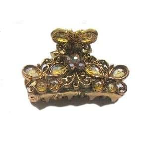 Austrian Crystal Rhinestone Metal Hair Clip Claw (GOLD) Jewelry